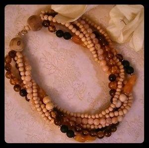 Vintage Wood & Lucite Beads Torsade Choker